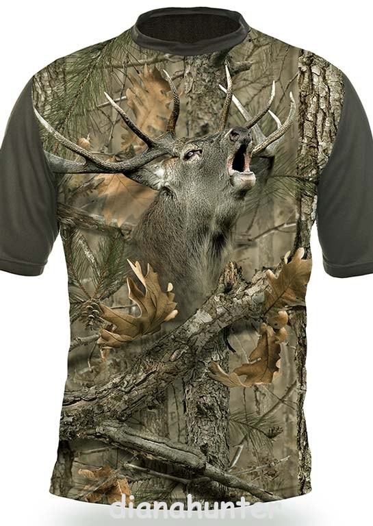 2946ab70d09f Poľovnícke tričko 3D Jeleň kamufláž